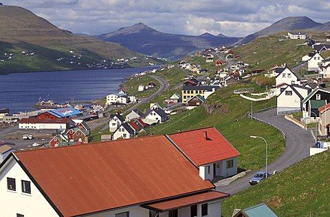 Toftir village, Eysturoy Island, Faroer Islands, Denmark, Atlantic Ocean