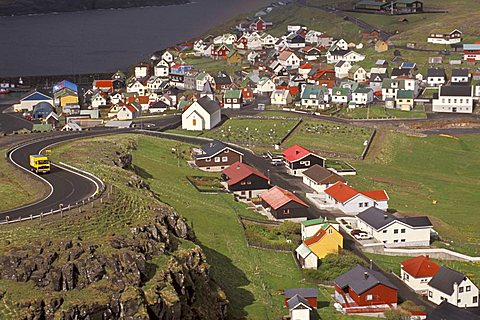 Eidi village, Eysturoy Island, Faroer Islands, Denmark, Atlantic Ocean