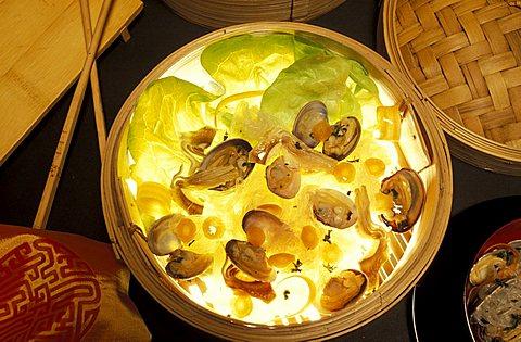 Soya spaghetti with clams, Italy