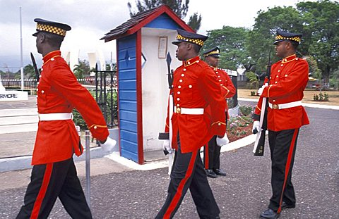 Changing of the guard, Kingston, Jamaica, Caribbean, West Indies, Central America