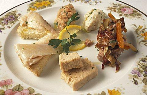 Freshwater fishes, Catilina restaurant, Iseo, Lombardy, Italy