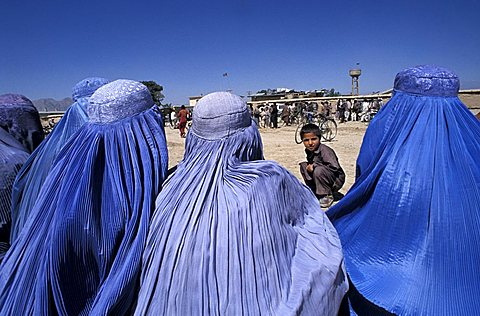 Afghan women in blue burkas, Afghanistan, Central Asia, Asia