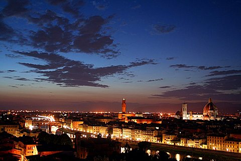 Cityscape by night, Florence, Tuscany, Italy