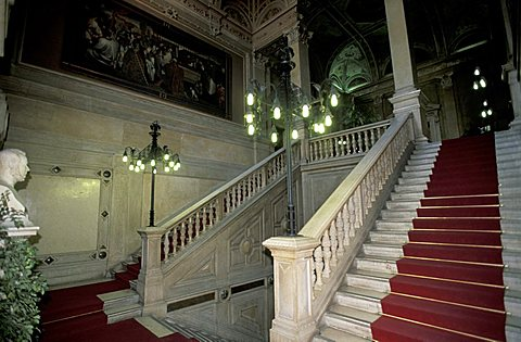 Flight of steps, Loggia palace, Brescia, Lombardy, Italy.