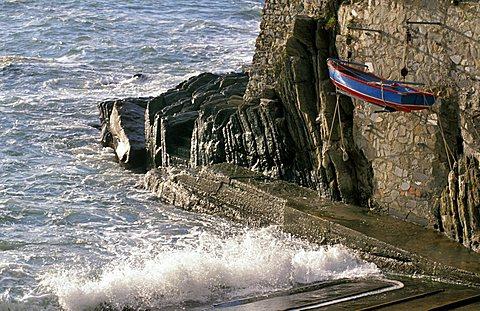 Suspended boat, Riomaggiore, Ligury, Italy