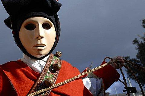 Typical carnival, Issohadores parade, Mamoiada, Sardinia, Italy, Europe