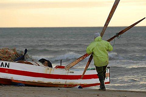 Fisherman, Hammamet, Tunisia, North Africa, Africa
