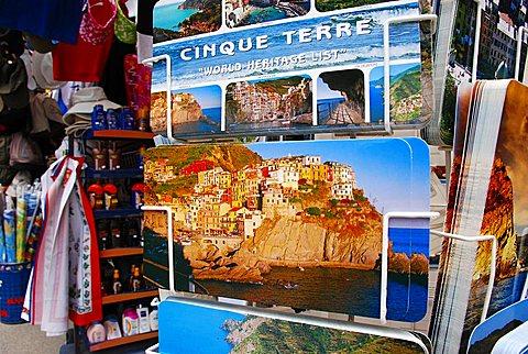 Souvenir stall, Monterosso al Mare, Liguria, Italy, Europe
