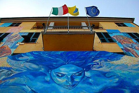 Town hall, Riomaggiore, Liguria, Italy, Europe