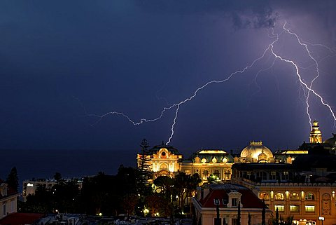 Thunderstorm over Casino, Monte Carlo, Monaco, Europe