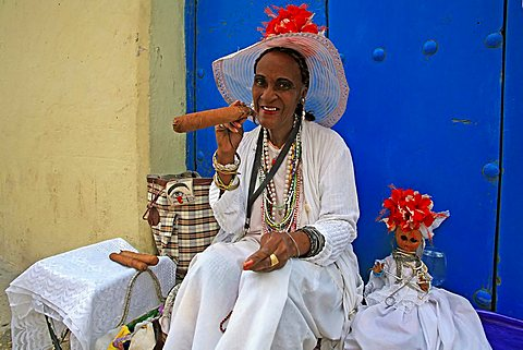 Woman in traditional clothes, Havana, Cuba, West Indies, Central America
