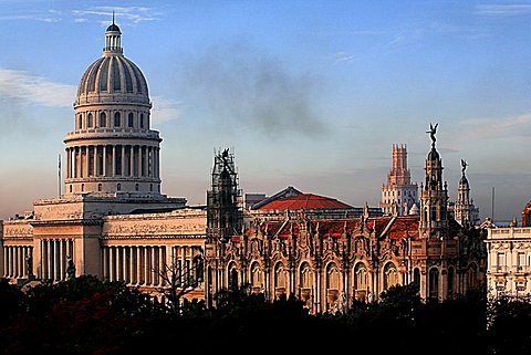 Buildings along Parque Central, Havana, Cuba, West Indies, Central America