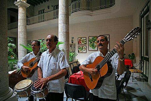 Hall, Hotel Florida, Havana, Cuba, West Indies, Central America