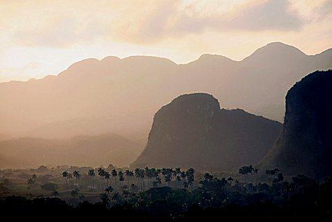 Landscape at dawn, Vi, Vinales, UNESCO World Heritage Site, Cuba, West Indies, Central America