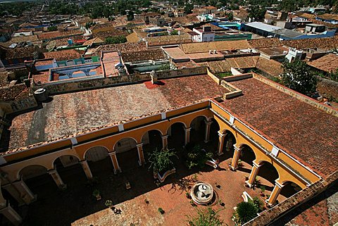 Courtyard of Palacio Cantero seen from tower, Trinidad, UNESCO World Heritage Site, Cuba, West Indies, Central America