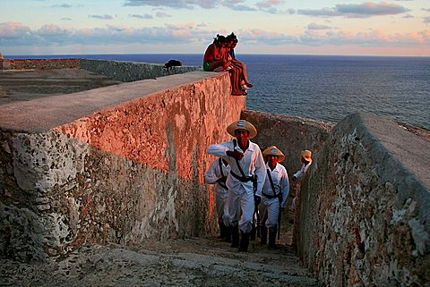 The lowering of the flag, Castle of Morro (Castillo del Morro), Santiago de Cuba, Cuba, West Indies, Central America