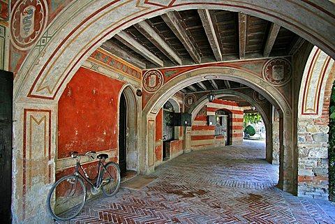 Porch, Grazzano Visconti, Emilia Romagna, Italy, Europe