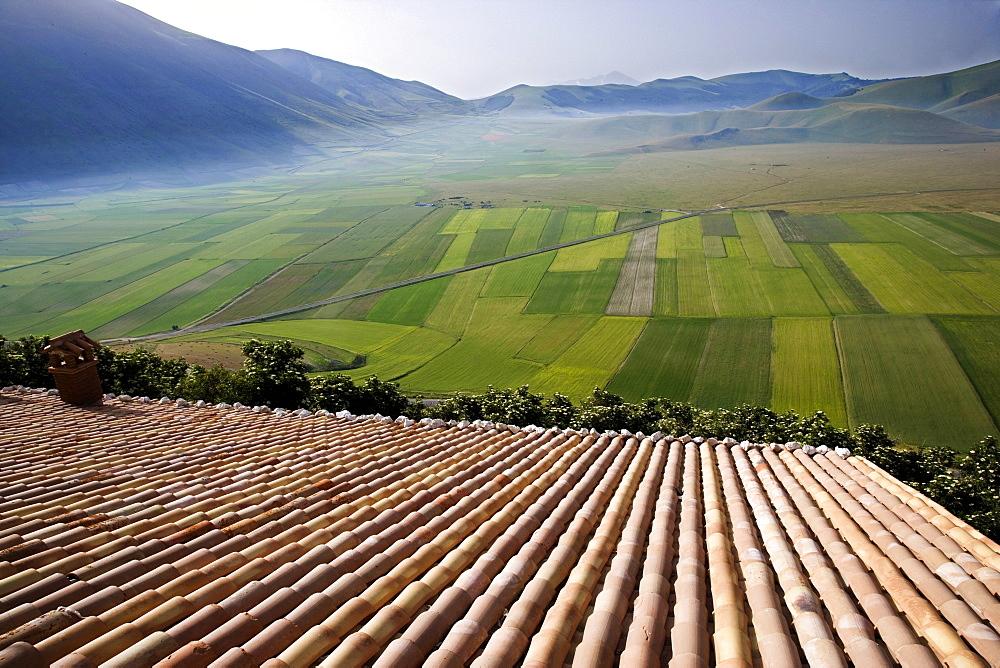 Piano Grande, Monti Sibillini national park, Castelluccio di Norcia, Umbria, Italy, Europe