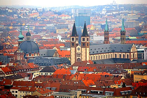 Cityscape with cathedral, Wurzburg, Bavaria, Germany, Europe