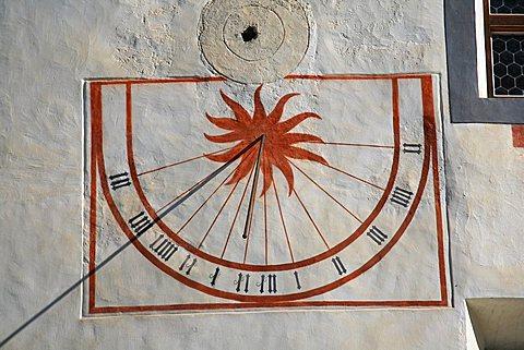 Sundial, St. Johann Mustair monastery, Mustair, Val Monastero, Bassa Engadina, Switzerland, Europe