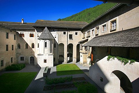 Courtyard, St. Johann Mustair monastery, Mustair, Val Monastero, Bassa Engadina, Switzerland, Europe