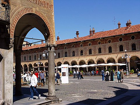 Ducale square, Vigevano, Lombardy, Italy, Europe