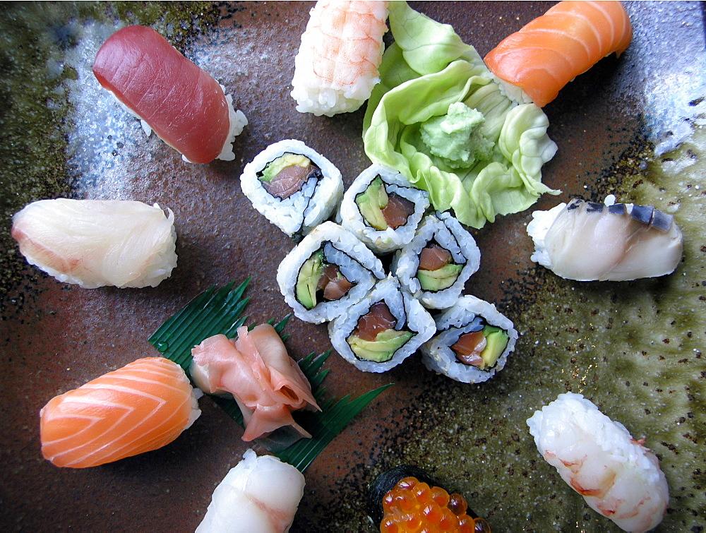Sushi, Amaebi, Ikura, Ebi, Ika, Hamachi, Japanese Food, Japan, Asia - 746-50954