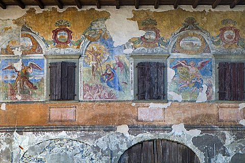 Frescoes on old building, Casnigo, Lombardy, Italy