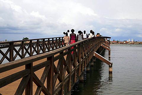 Wooden bridge that connects Joal and Fadiouth, Joal-Fadiouth, Republic of Senegal, Africa