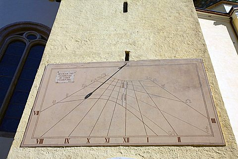 Sundial on belltower, Mezzocorona, Trentino, Italy