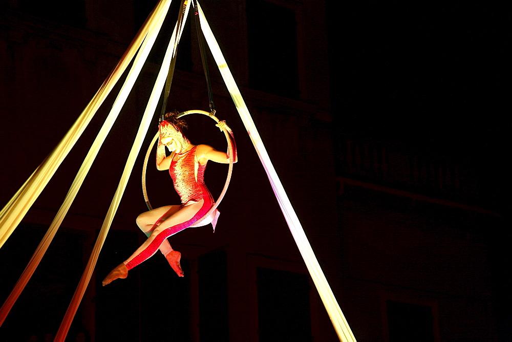 Sonics Company acrobatic show, Ala Città di Velluto  feast, Ala, Trentino, Italy