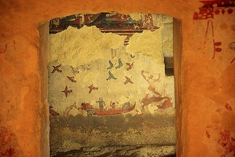 Fishing and Hunting tomb, Archaeological Site, Tarquinia, Lazio, Italy