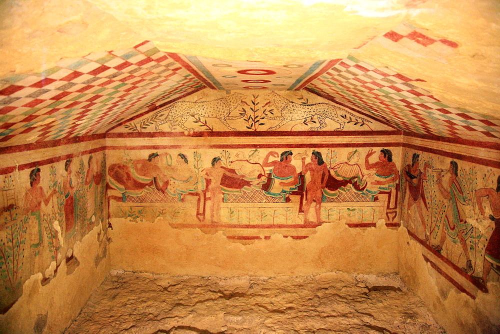 Tomb of Leopards, Archaeological Site, Tarquinia, Lazio, Italy