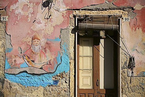 Painted wall, Brucoli, Sicily, Italy