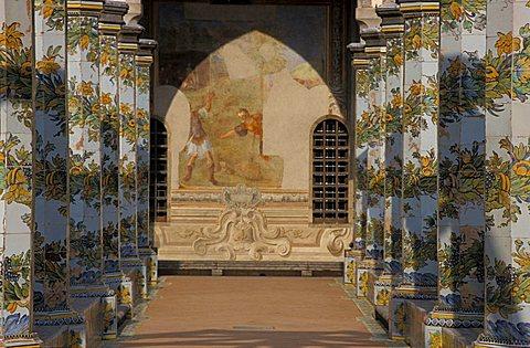 Cloister in Santa Chiara convent, Naples, Campania, Italy