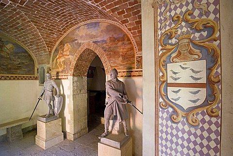 Interior, Castello di Villa d'Ayala Valva castle, river Sele valley, Salerno, Campania, Italy, Europe