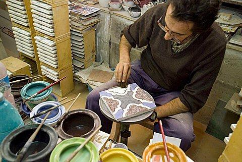 Handmade decorated tiles of Rufoli, Salerno, Campania, Italy, Europe