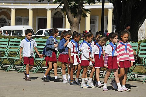 Schoolchildren in uniform, Cienfuegos, Cuba, West Indies, Central America