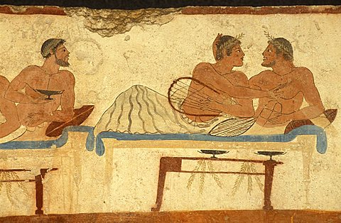 Tomba del Tuffatore, mural, Paestum archaeological park, Campania, Italy