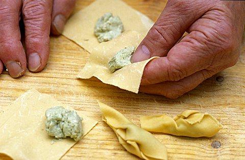 Home made tortelli, Piacenza, Emilia-Romagna, Italy