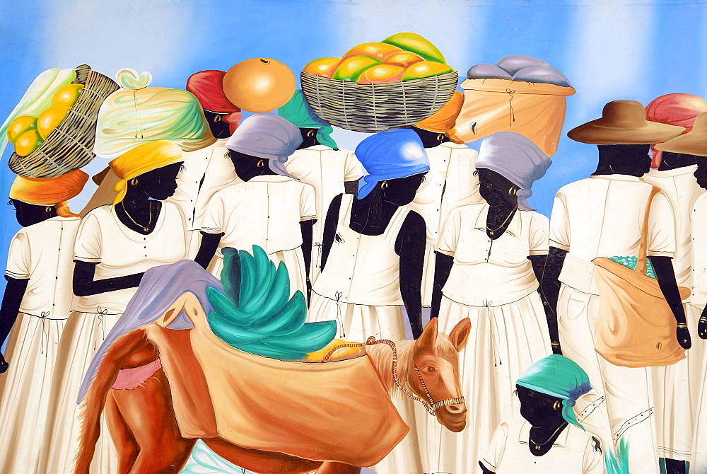 Caribbean traditional painting, Punta Cana, Dominican Republic, West Indies, Central America