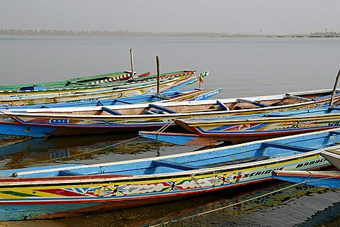 Saloum river with pirogue, Ndangane, Republic of Senegal, Africa