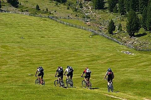 on Bike near Brogles refuge, between Gardena Valley and Funes Valley, Alto Adige, Italy