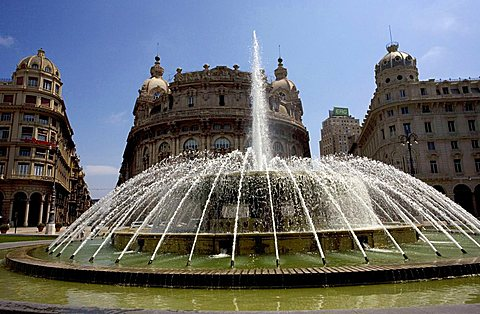 Piazza De Ferrari and its fountain, Genoa, Ligury, Italy