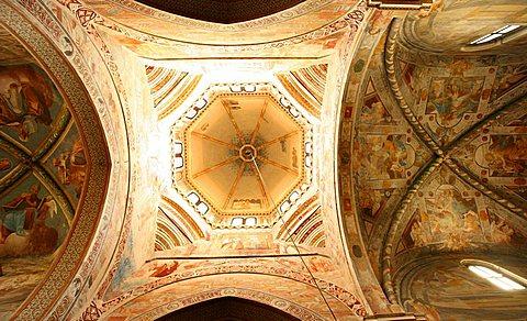 Fresco ceiling, Abbazia di Chiaravalle abbey, Chiaravalle Milanese, Lombardy, Italy, Europe
