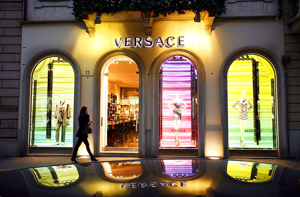 Versace fashion shop, Via Monte Napoleone 2  street, Milan, Italy, Europe - 746-61462
