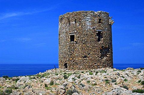 Old guards tower, Cala Domestica, Buggerru, Sulcis, Iglesiente, Carbonia, Iglesias, Sardinia, Italy