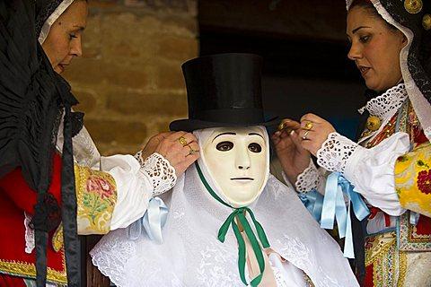 Ritual dressing of Su Composidori, Sartiglia feast, Oristano, Sardinia, Italy, Europe