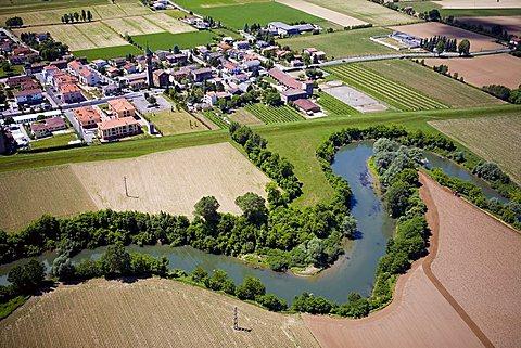aerial view of Bacchiglione river and town Cervaresa Santa Croce, Padova, Veneto, Italy