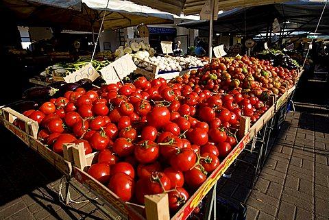 Tomatoes stall, Brindisi, Puglia, Italy